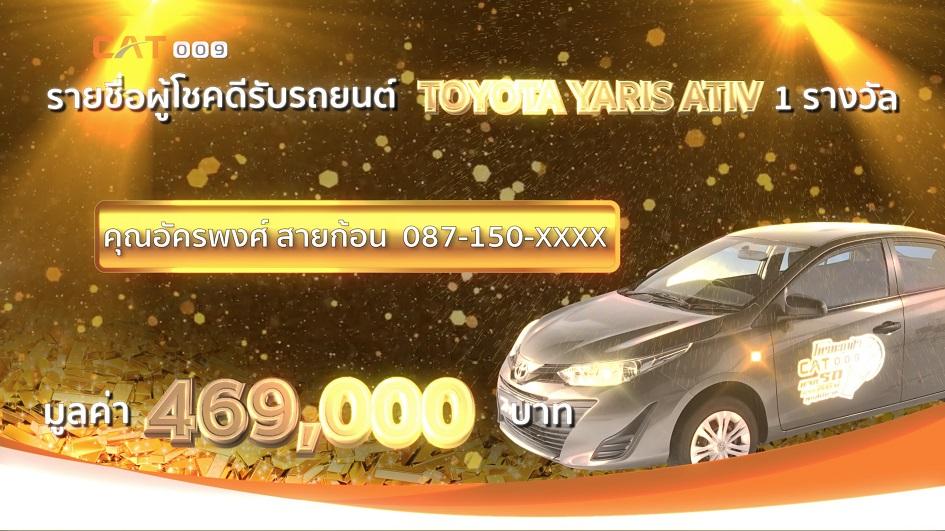 ประกาศรายชื่อผู้โชคดี รับรถยนต์ TOYOTA YARIS ATIV